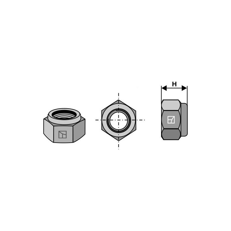 Écrou hexagonal à freinage interne - M12x1,25 H12- 10.9 - Amazone - 0602200