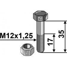 Boulon avec écrou à freinage interne - M12x1,25X35 - 12.9 - Muratori - 60000500