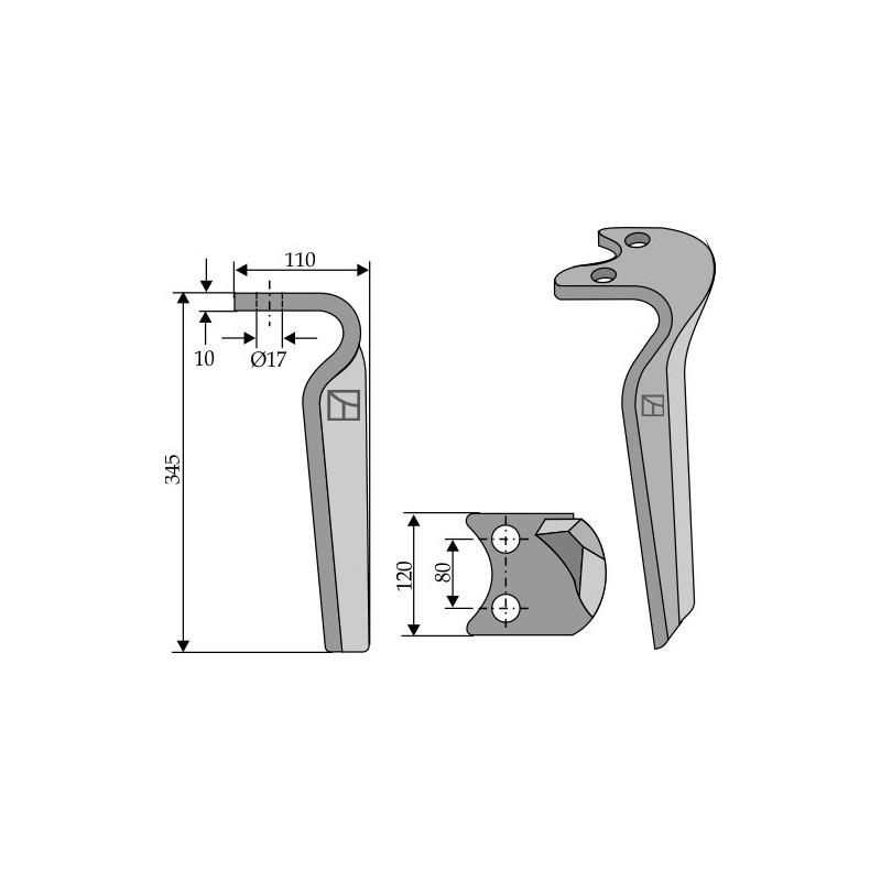 Dent pour herse rotative, modèle gauche - Amazone - 6804400