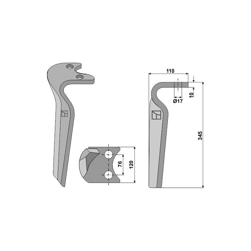 Dent pour herse rotative, modèle droit - Amazone - 6802400
