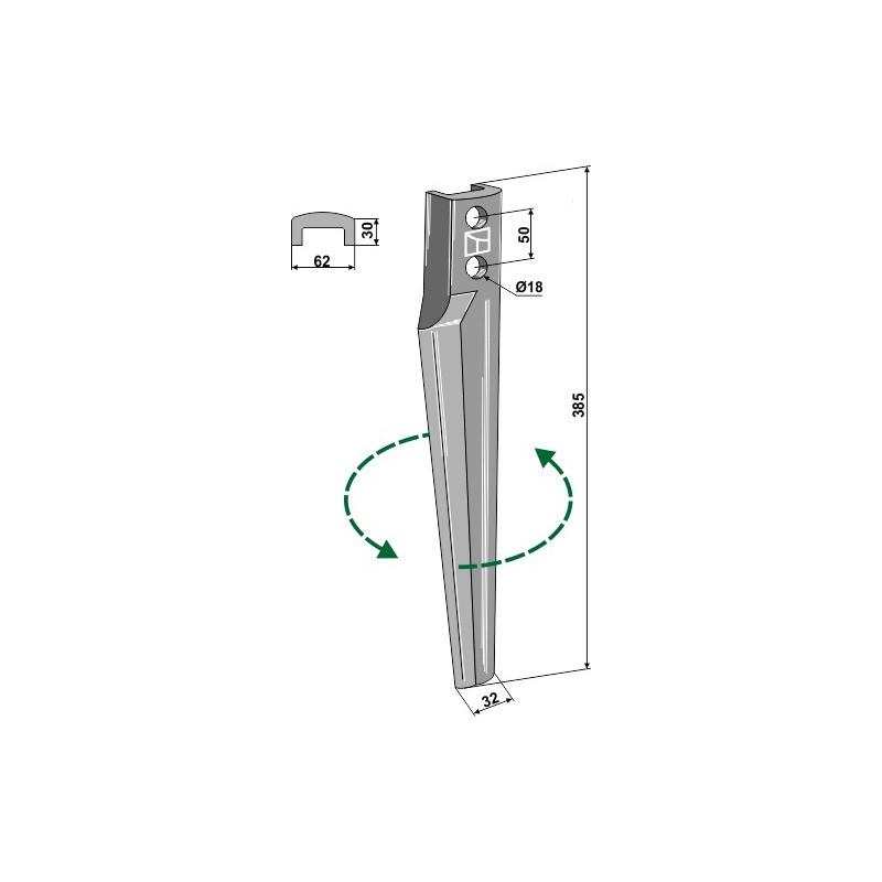 Dent pour herses rotatives, modèle gauche - Eberhardt - 301897