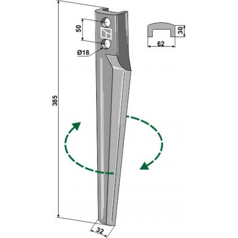 Dent pour herses rotatives, modèle droit - Eberhardt - 301896