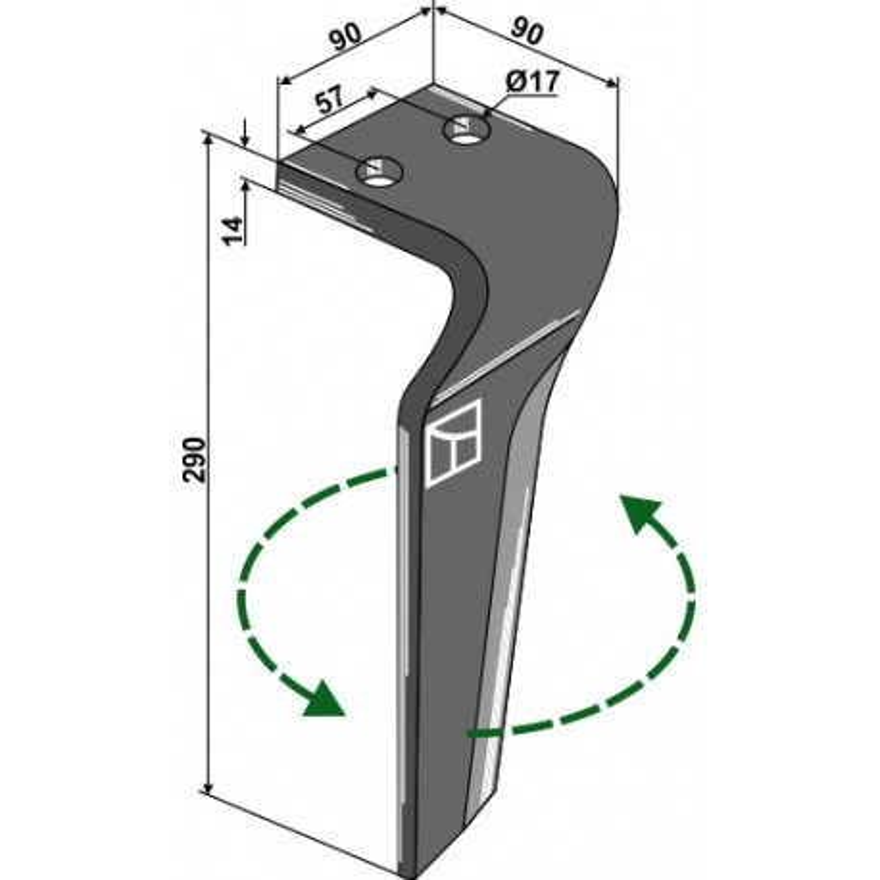 Dent pour herses rotatives, modèle gauche - Carraro - 155217