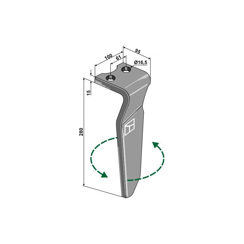Dent pour herses rotatives, modèle gauche - Krone - 492601