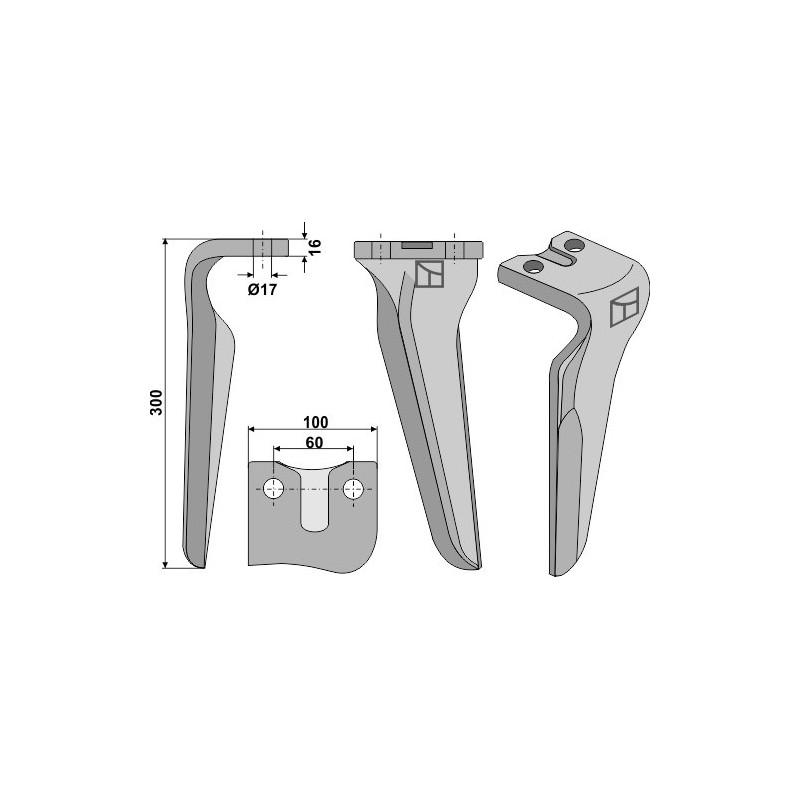 Dent pour herses rotatives, modèle gauche - AG000356