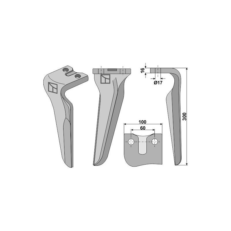 Dent pour herses rotatives, modèle droit - AG000355