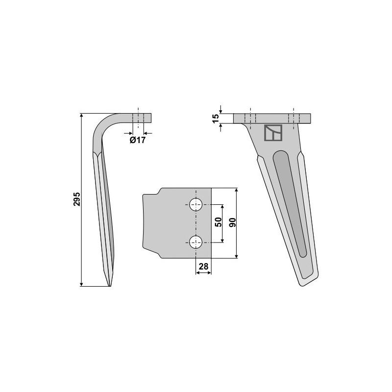 Dent pour herses rotatives, modèle gauche - AG000354