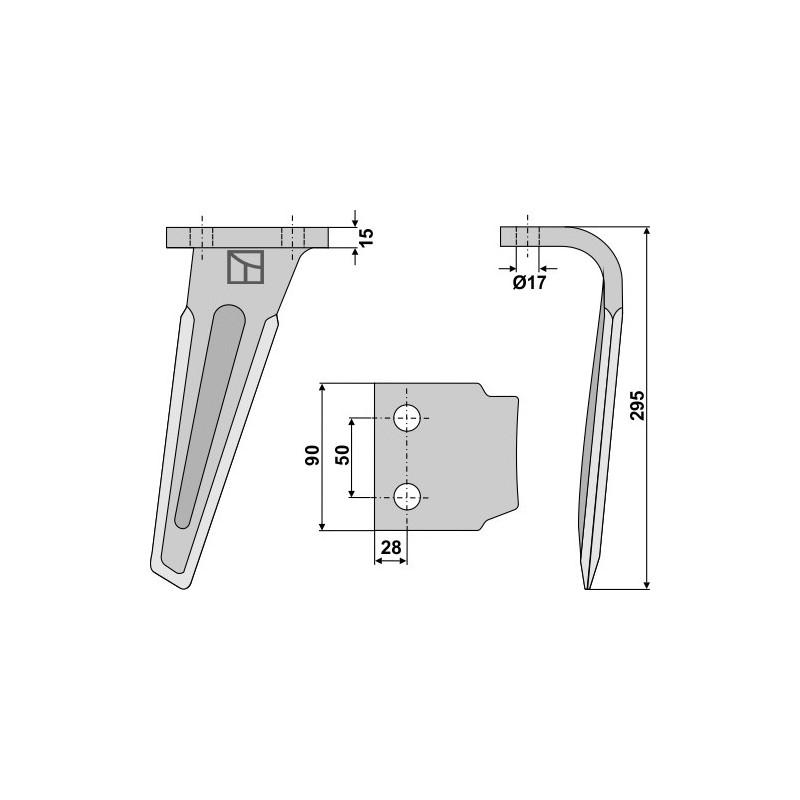 Dent pour herses rotatives, modèle droit - AG000353