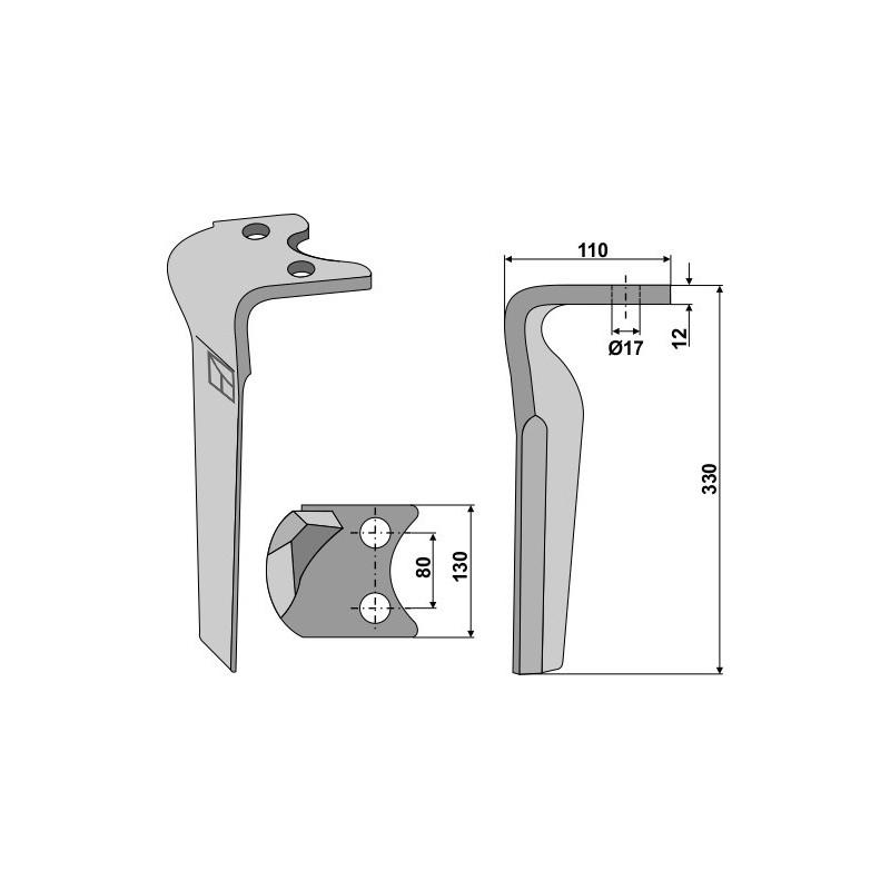 Dent pour herses rotatives, modèle gauche - Amazone - 6808400
