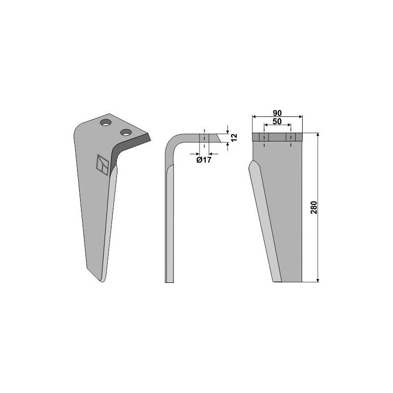 Dent pour herses rotatives, modèle gauche - Muratori - 12012400