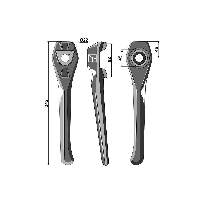 Dent pour herses rotatives, modèle gauche - Lely - 1.1699.0111.0