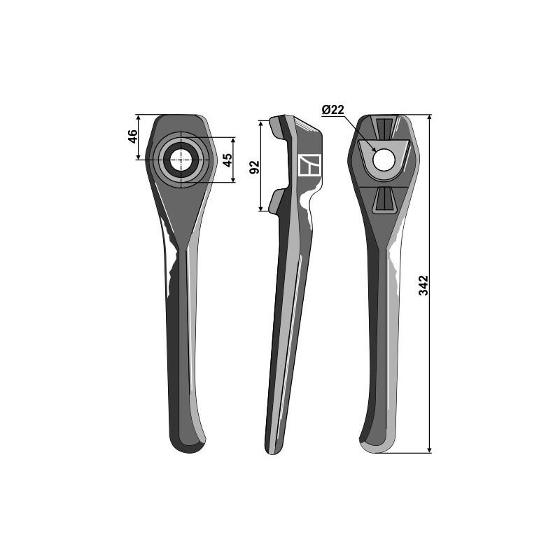 Dent pour herses rotatives, modèle droit - Lely - 1.1699.0112.0