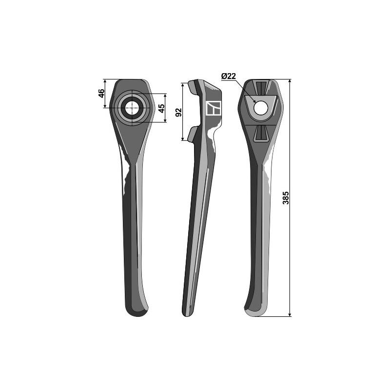 Dent pour herses rotatives, modèle droit - Lely - 1.1699.0125.0