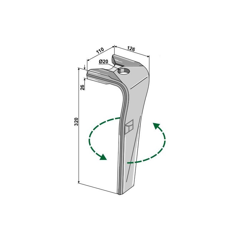 Dent pour herses rotatives, modèle gauche - Kuhn - 52596510