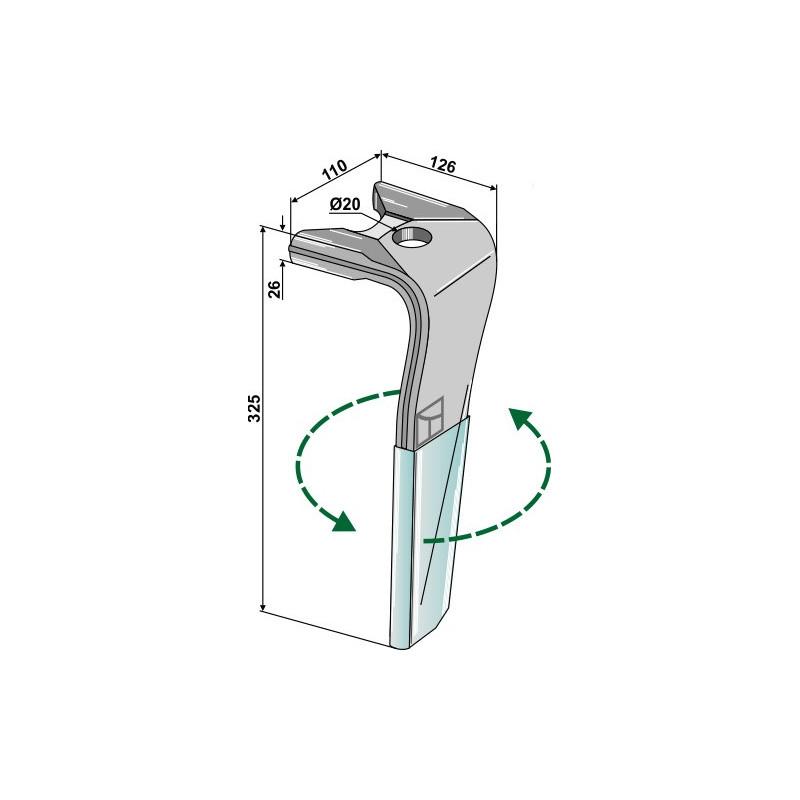 Dent pour herses rotatives (DURAFACE) - modèle gauche - Kuhn - 52597510