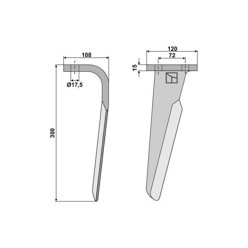Dent pour herses rotatives, modèle droit - Celli - 6226031