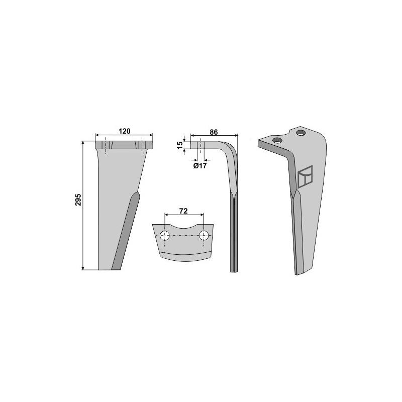Dent pour herses rotatives, modèle droit - Niemeyer - 034578