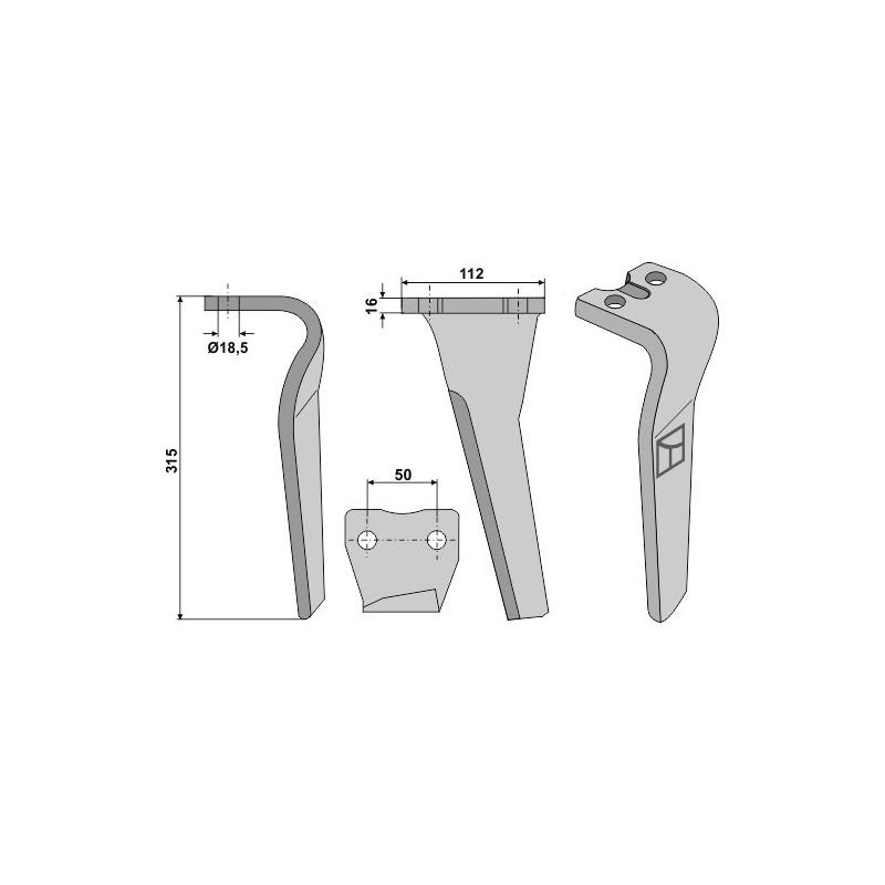 Dent pour herses rotatives, modèle gauche - AG000332