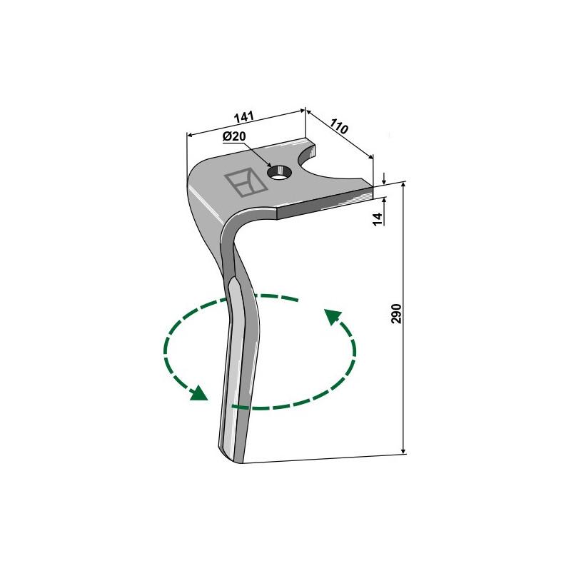 Dent pour herses rotatives, modèle gauche - Kuhn - K2500070 - K2500071