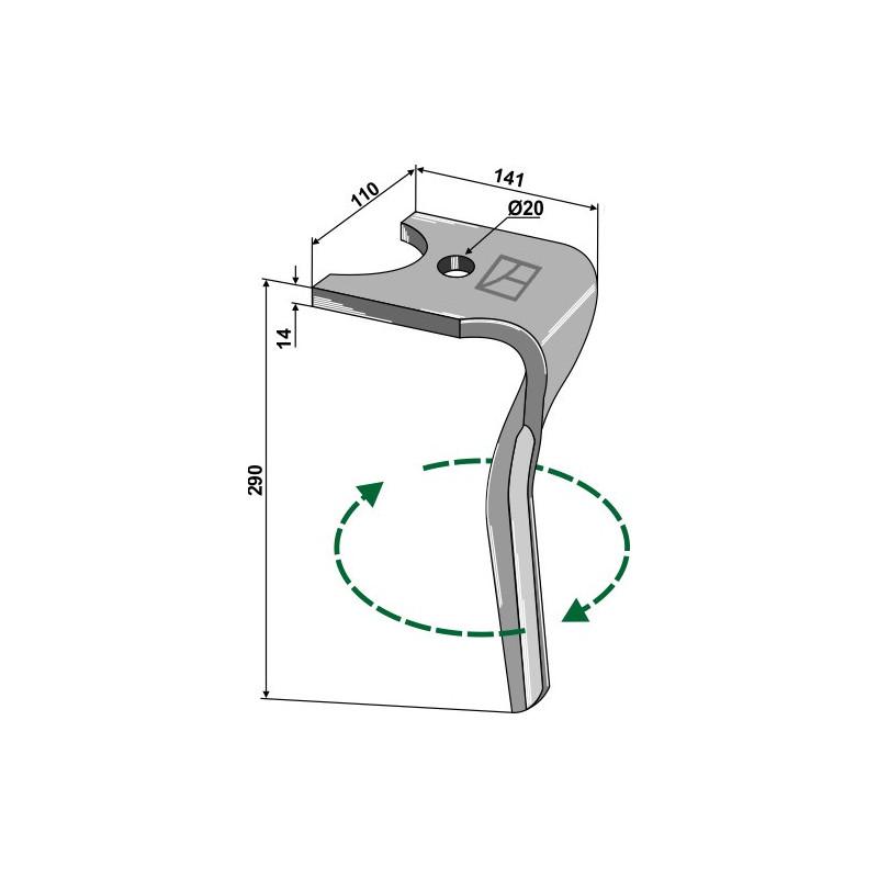 Dent pour herses rotatives, modèle droit - Kuhn - K2500080 - K2500081