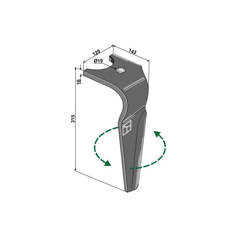 Dent pour herses rotatives, modèle gauche - Kuhn - K2500090