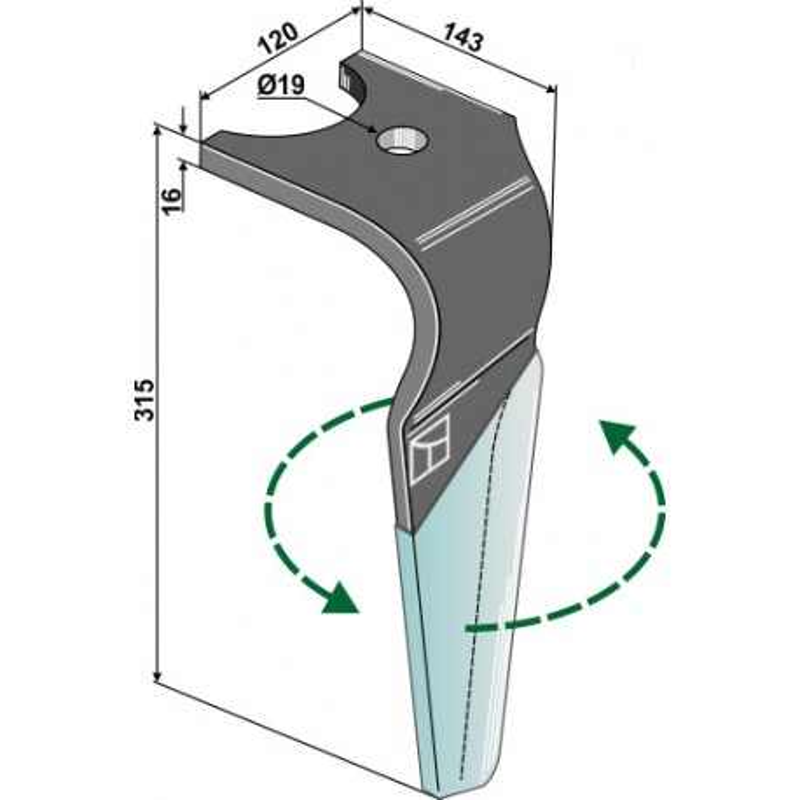 Dent pour herses rotatives (DURAFACE) - modèle gauche - Kuhn - K2502240