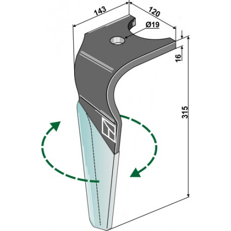 Dent pour herses rotatives (DURAFACE) - modèle droit - Kuhn - K2502250