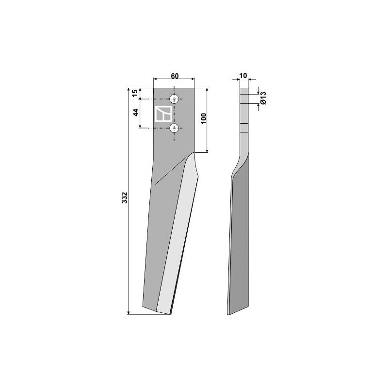 Dent pour herses rotatives, modèle gauche - Dondi - 6226041