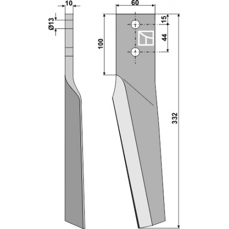 Dent pour herses rotatives, modèle droit - Dondi - 6226031