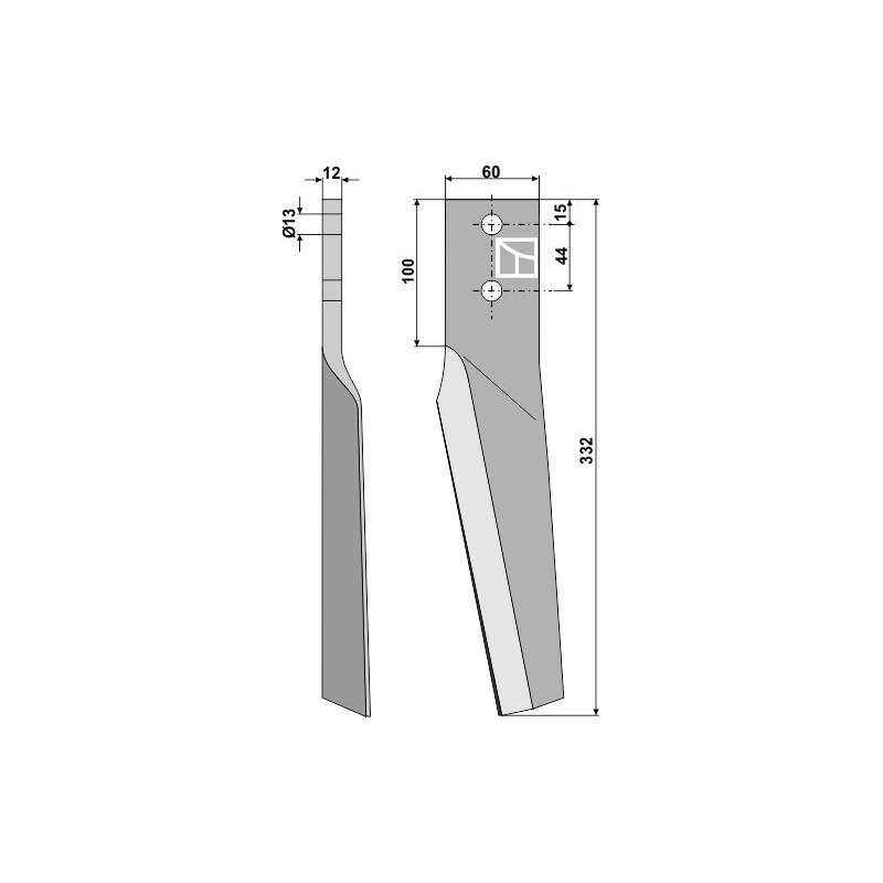 Dent pour herses rotatives, modèle droit - Maschio / Gaspardo - 10100225
