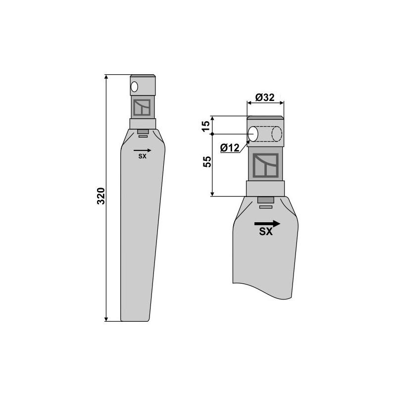 Dent pour herses rotatives, modèle gauche - Niemeyer - 034001