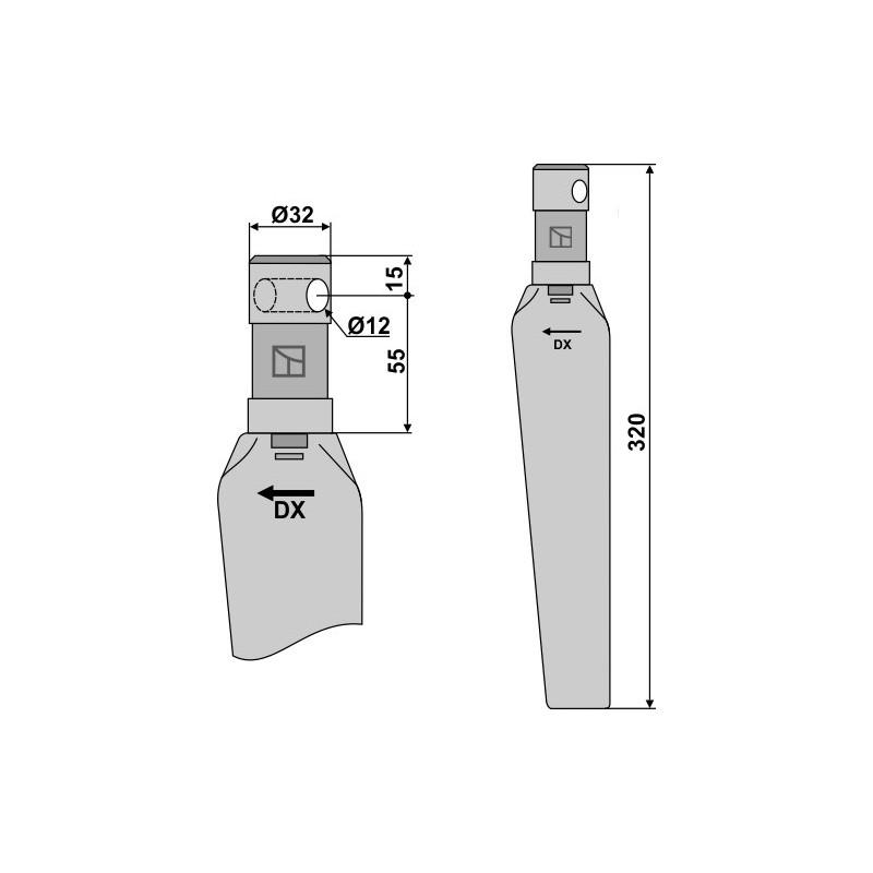 Dent pour herses rotatives, modèle droit - Niemeyer - 034000