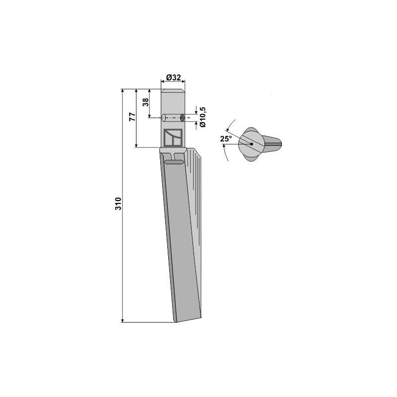 Dent pour herses rotatives, modèle gauche - Breviglieri - 32069D