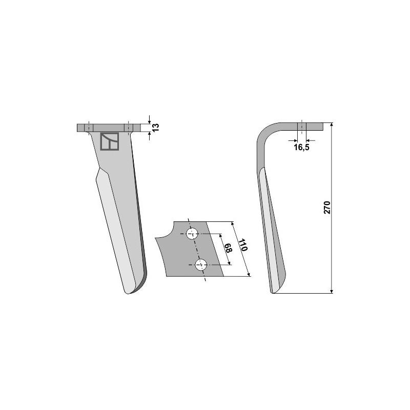 Dent pour herses rotatives, modèle gauche - Kuhn - Alt. 525.495.10 - Neu: 525.495.30