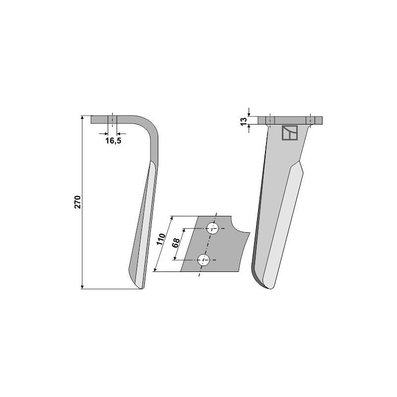 Dent pour herses rotatives, modèle droit - Kuhn - Alt: 525.494.00 - Neu: 525.494.30