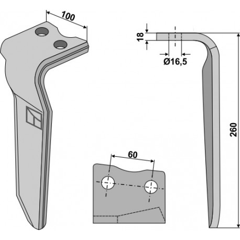 Dent pour herses rotatives, modèle gauche - Howard - 185535