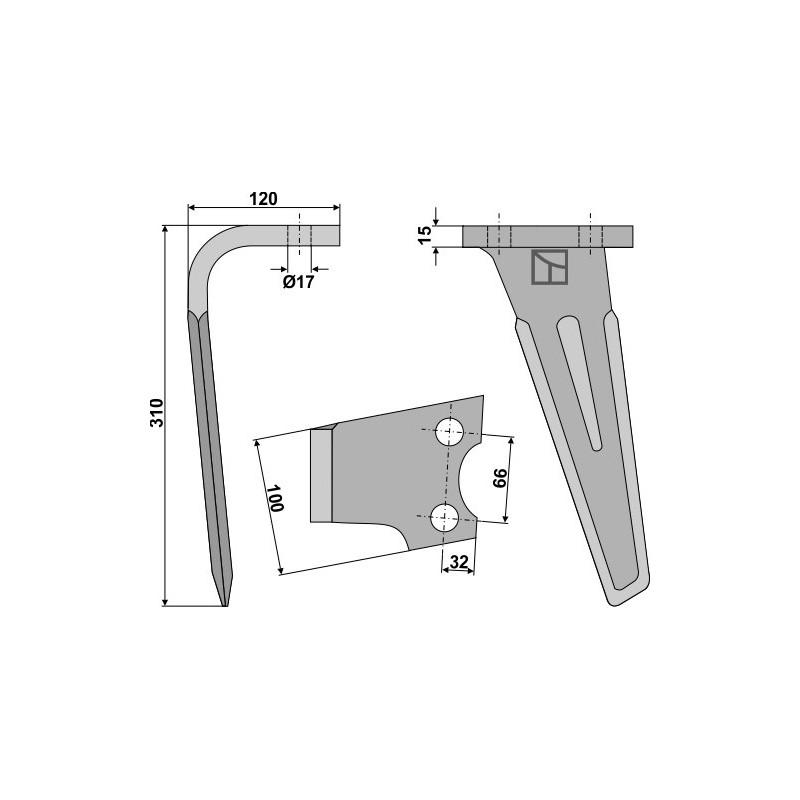 Dent pour herses rotatives, modèle gauche - AG000304