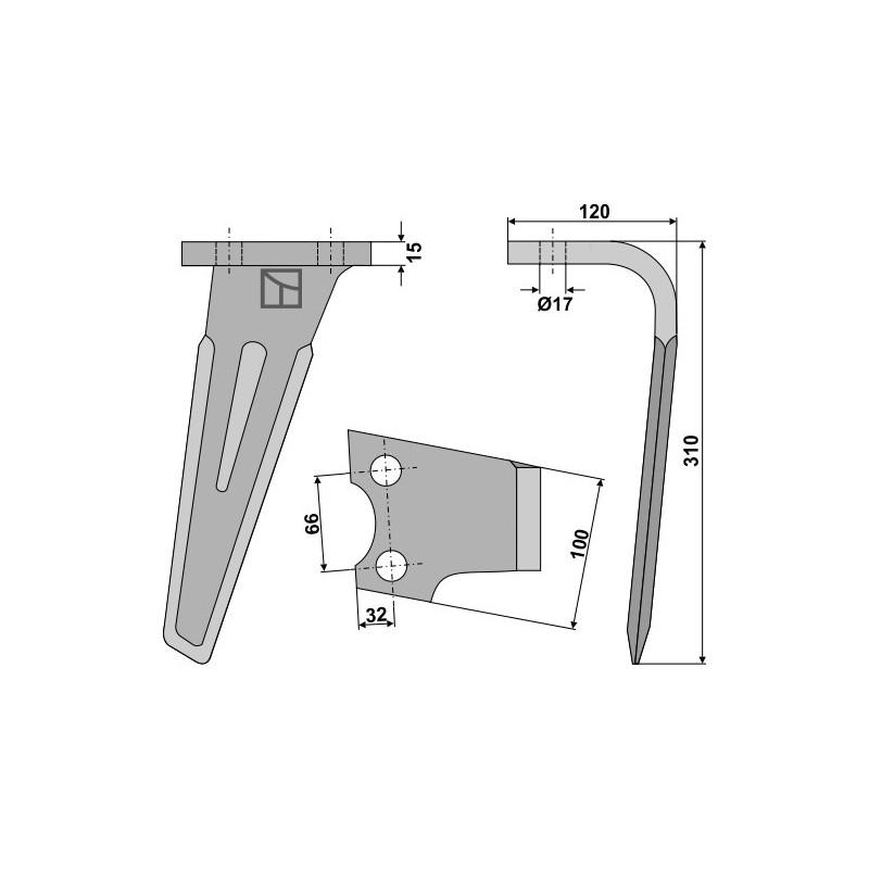Dent pour herses rotatives, modèle droit - AG000303