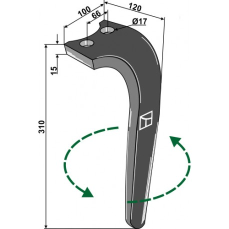 Dent pour herses rotatives, modèle gauche - Rabe - 8404.50.02 - 8427.40.02 - 8404.50.14 - 8404.50.08