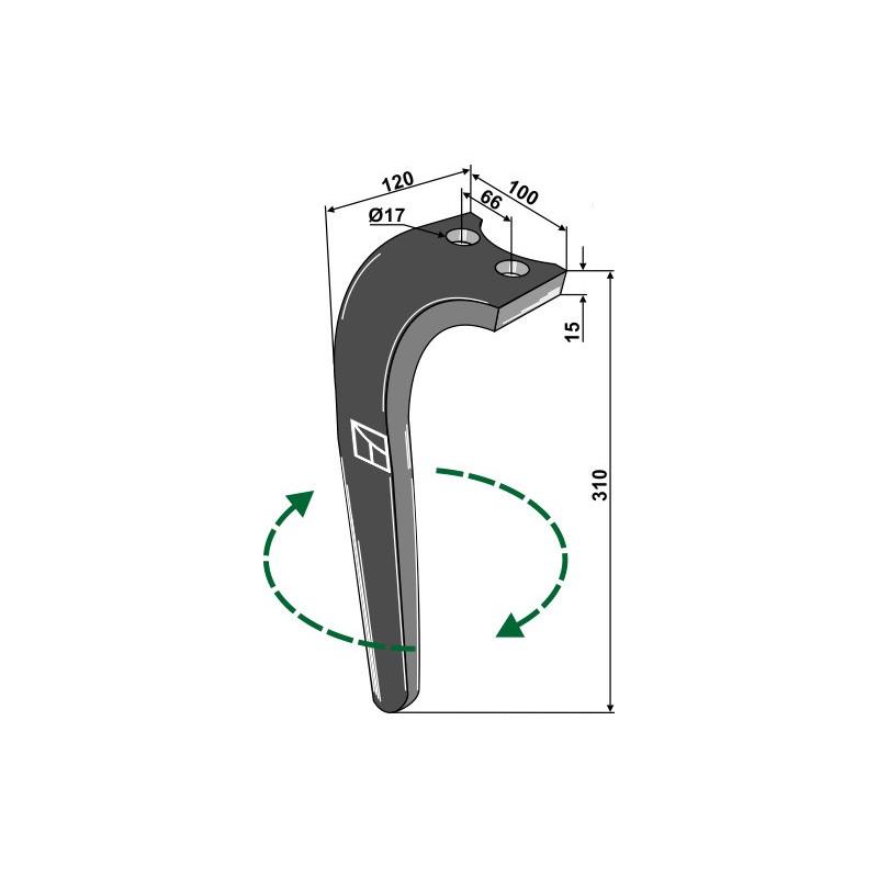 Dent pour herses rotatives, modèle droit - Rabe - 8404.50.01 - 8427.40.01 - 8404.50.13 - 8404.50.07