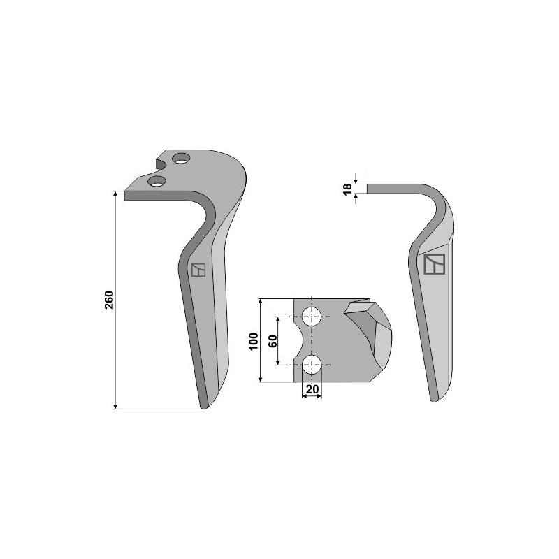 Dent pour herses rotatives, modèle gauche - Krone - 4927580
