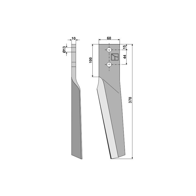 Dent pour herses rotatives, modèle droit - AG000293