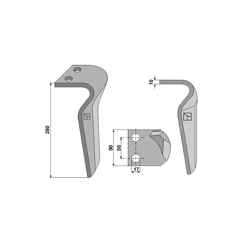 Dent pour herses rotatives, modèle gauche - Eberhardt - 302 142