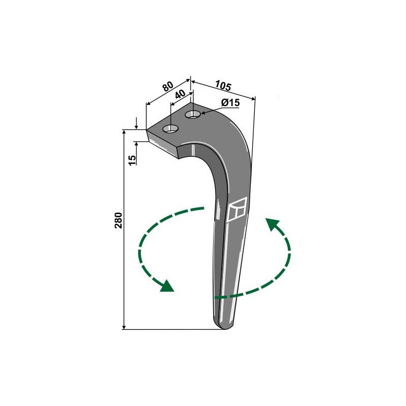 Dent pour herses rotatives, modèle gauche - Rabe - 8409.12.02 - 8426.43.02