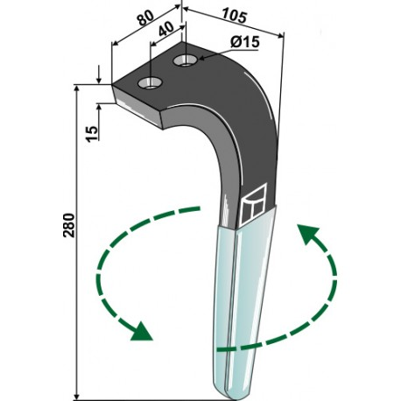 Dent pour herses rotatives (DURAFACE) - modèle gauche - Rabe - 8411.62.06