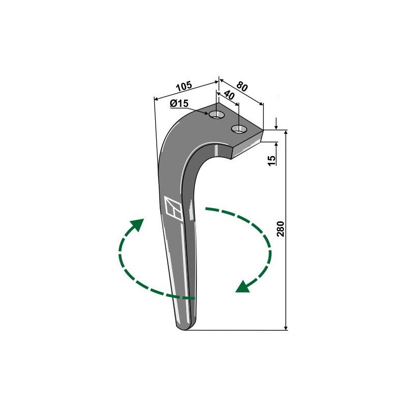 Dent pour herses rotatives, modèle droit - Rabe - 8409.12.01 - 8426.43.01