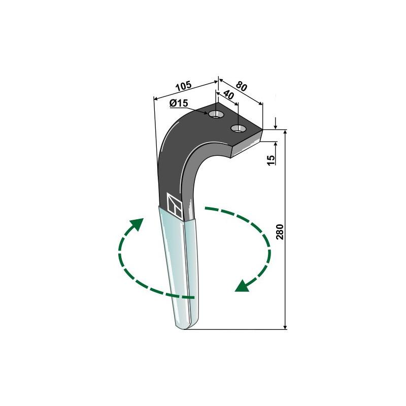 Dent pour herses rotatives (DURAFACE) - modèle droite - Rabe - 8411.62.05