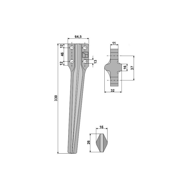 Dent pour herses rotatives, modèle droit - Eberhardt - 300334