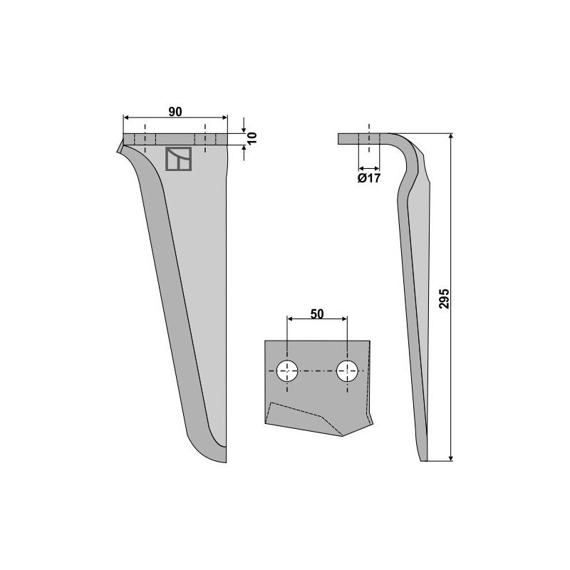Dent pour herses rotatives, modèle gauche - AG000274