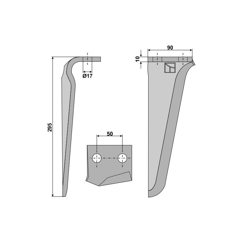 Dent pour herses rotatives, modèle droit - AG000273